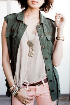 I love this! The grunge-y shirt with a nice top, necklace down the torso and feminine pants with some cool acc's.