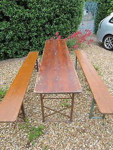 Original Vintage Wooden Trestle Folding German Beer Table And Benches