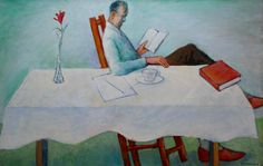 WARREN DENNIS  Man Reading at the Table