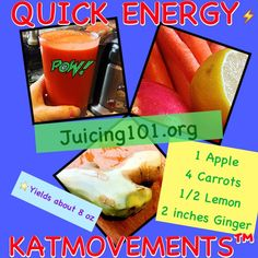 Juicing Vegetables & Fruit      ⚡QUICK ENERGY⚡    1 Apple  4 Carrots  1/2 Lemon  2 inches Ginger    TO YOUR HEALTH!✨  Kat  =^.^=  https://www.facebook.com/JUICING101