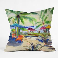 DENY Designs Caribbean Time by Laura Trevey Indoor/Outdoor Throw Pillow Watercolor Design, Watercolor Print, Outdoor Throw Pillows, Decorative Throw Pillows, Decor Pillows, Sunshine In My Pocket, Coastal Decor, Coastal Living, Coastal Curtains