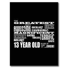 Fun 13th Birthday Party Greatest Thirteen Year Old Postcard