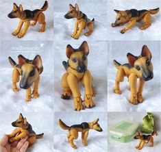 A ball jointed doll of a German Shepherd by Deviant Art user vonborowsky. Fully jointed back legs. 15cm from head to tail and 9.5cm tall. Artist takes commissions.