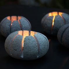 These Boulder Candle Holders are sold by Flora Grubb Gardens in San Francisco: The glow of fire on rock draws upon deep human feeling. Carved from smooth stones, these candle holders' precise lines…