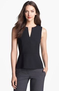 Theory 'Etia C.' Peplum Top available at Mode Outfits, Chic Outfits, Fall Outfits, Work Fashion, Trendy Fashion, Fashion Design, Work Attire, Mode Style, Blouse Designs