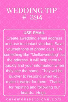Using email to communicate with wedding vendors and guests is a huge time saver in wedding planning. Brides who want to focus on wedding without distractions will find love this helpful tip. Hugs planning tips Home – Ceremonies To Love Do It Yourself Wedding, Plan Your Wedding, Budget Wedding, Wedding Vendors, Wedding Events, Wedding Ceremony, Wedding Themes, Wedding Table, Wedding Decorations