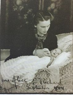 Alice, Duchess of Gloucester, with her infant son Richard, September 1944
