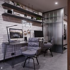 Visualization of home office and hallway in Sky Barrandov apartment,