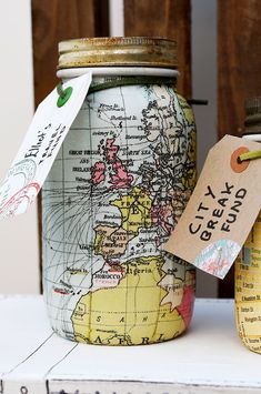 A lovely handmade gift for those with wanderlust a world map mason jar bank