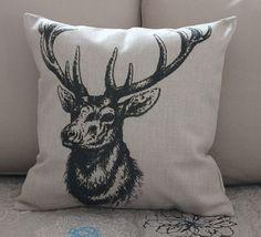 1PCS 45x45cm Vintage Deer Head Animal by CushionCoverMiniHat, $14.99