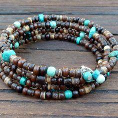 Turquoise Blue Memory Wire Bracelet - Turquoise Blue Magnesite Beads, Mixed Wood Beads, 4x Wrap Bracelet. $15.00, via Etsy.
