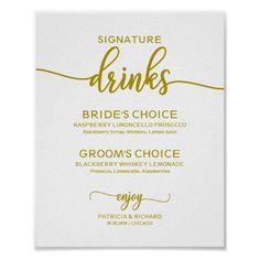 Signature Drinks Elegant Gold Script Wedding Sign | Zazzle.com
