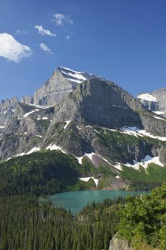 The beautiful Grinnell Lake in Glacier National Park in northern Montana