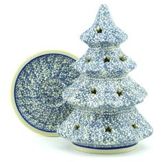 Polish Pottery 8-inch Christmas Tree Candle Holder | Boleslawiec Stoneware | Polmedia H9734E | Polmedia