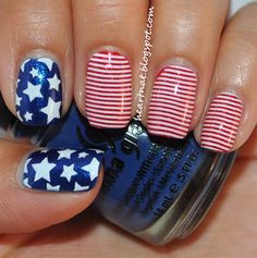 Fourth of July Nails: get ready to be as patriotic as possible. Including your Nails! Post your patriotic nails the person with the best nails get a Naughty Nautical Pack from Essie. I'll send you a comment on your most rec Get Nails, Fancy Nails, Love Nails, How To Do Nails, Pretty Nails, Hair And Nails, July 4th Nails Designs, 4th Of July Nails, Nail Art Designs