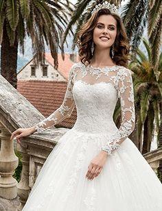 HotGirls Spitze Appliques lange HochzeitsKleider mit Hülsen schnüren sich oben Brautkleid (32, Elfenbein)
