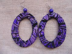 African Print Earrings-Purple Variation 4 – Lillon Boutique