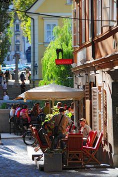 Coffee scene in Ljubljana.