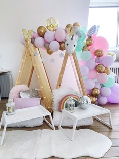 It's every child's dream to meet a unicorn!🦄 🌈Our magical unicorn, Louis, is a big hit at our sleepovers and helps keep the magic flowing throughout the night. Slumber Party Birthday, 10th Birthday Parties, Slumber Parties, Fun Sleepover Ideas, Sleepover Food, Madonna Birthday, Bristol London, Teepee Party, Teepee Kids