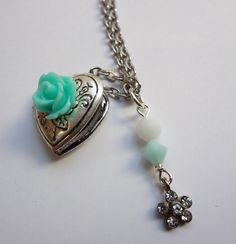 Turquoise Rose Locket Necklace by TheDazzleDistrict on Etsy, $16.00