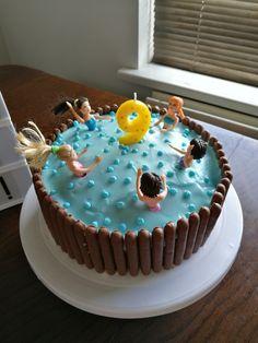 Pool Birthday Cakes, Pool Party Cakes, Luau Cakes, Birthday Cake Girls, Cupcakes, Cupcake Cakes, Dad Cake, Take The Cake, 11th Birthday