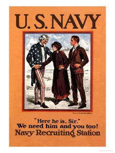 WW1 Navy enlistment poster, tugging the heartstrings