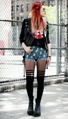 Simpson Print Denim Shorts | Choies