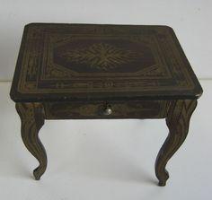Biedermeier Antique miniature German furniture Boule sewing table