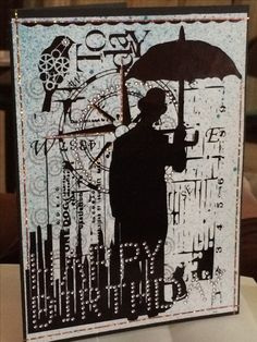Steampunk card for masculine birthday. Foiled design with mini rhinestone embellishments and foil tape borders.
