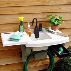 rubbermaid outdoor sink Allison I think I have one of these if you want it Outdoor Garden Sink, Outdoor Sinks, Outdoor Play Spaces, Outdoor Fun, Outdoor Decor, Workbench Plans Diy, Backyard Storage Sheds, Diy Rv, Small Showers