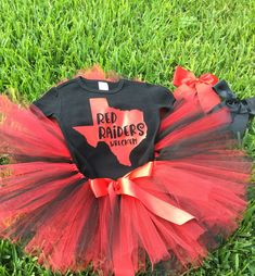 Red Raiders baby girl outfit, Texas Tech Tutu/Little Cheerleader/Red and Black/Wreck'em/Baby Girl Tutu Set/Lubbock Texas by sunnyvilledesigns on Etsy Raiders Baby, Red Raiders, First Birthday Outfit Girl, Baby Girl Birthday, Cheerleading Outfits, Football Outfits, Texas Tech Baby, Football Baby Shower, Princess Tutu Dresses
