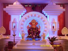 Flower Decoration For Ganpati, Ganpati Decoration Design, Mandir Decoration, Ganapati Decoration, Tent Decorations, Festival Decorations, Flower Decorations, Thermocol Craft, Ganpati Bappa Wallpapers