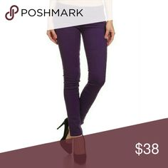 Purple Skinny Denim Jeans Solid Basic Color Skinny Jeans 5 Pocket Classic  96% Cotton 4% Spandex  TTS Jeans Skinny