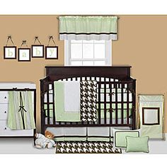 @Overstock - Neutral crib set features a frame-style design on one side and houndstooth pattern in white/chocolate on the other sideBaby boy bedding is made of 100-percent cotton percale fabricsIncludes soft polyester fillinghttp://www.overstock.com/Baby/Bacati-Metro-Green-4-piece-Crib-Bedding-Set/4073362/product.html?CID=214117 $95.99