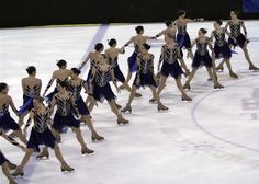 synchronized skating involves complex choreography like this splice where skaters create shapes in lines or circles and change them seamlessly while moving at high speeds. Here these skaters are passing extremely closely while performing a difficult move which is extremely dangerous. But because they know exactly where their team-mates should pass, it is executed with no collisions.