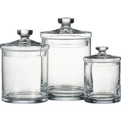 Glass Canisters for bathroom- Crate and Barrel