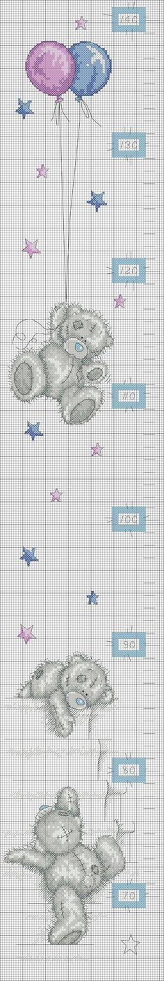 Cross Stitch - Height chart Me to You (pattern) Cross Stitch For Kids, Cross Stitch Love, Cross Stitch Animals, Cross Stitch Charts, Cross Stitch Designs, Cross Stitch Patterns, Cross Stitching, Cross Stitch Embroidery, Embroidery Patterns
