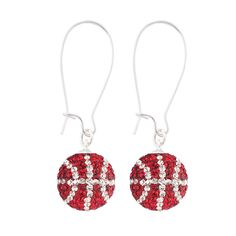 Handcrafted Red-Crystal (Red-White) Basketball Earrings with Silver Wire, Item E-BB13, Price:  $35.99, © GameDay Fusion