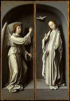 Archangel Gabriel; The Virgin Annunciate  Gerard David  (Netherlandish, Oudewater ca. 1455–1523 Bruges)   in the Met