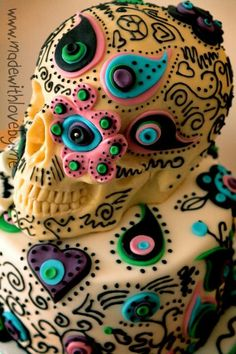 fondant sugar skull cake- love the layered fondant and the bright blue as well as the black design everywhere