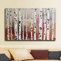 """Birch Trees 36""""x24"""" ORIGINAL art Abstract painting landscape Painting Tatjana Ruzin - acrylic painting on stretched canvas"""