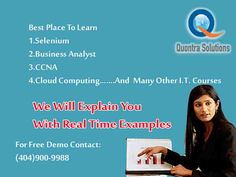 Quontra  solutions is one of the leading Selenium online training firm in US and UK. Quontra Solutions provides quality training by Industry experts. Quontra Solutions is the only organization which will update the syllabus according to the Industry requirements.