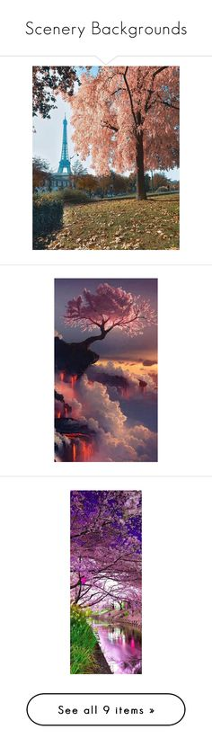 """""""Scenery Backgrounds"""" by ladydivaboss ❤ liked on Polyvore featuring tops, waterfall top, purple top, home, home decor, wall art, backgrounds, random, red and red home decor"""