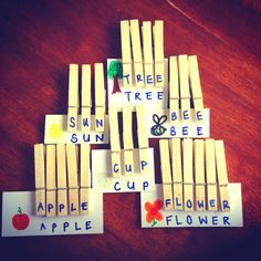 Wooden pegs and card make great letter games for kids! (: