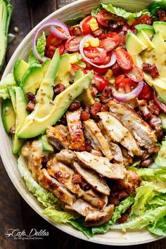 Honey Mustard Chicken, Avocado + Bacon Salad | https://cafedelites.com