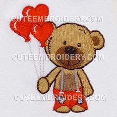Bear w suspenders holding heart balloons Free on 1/23/15 from Cute Embroidery Designs