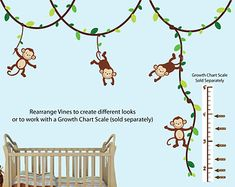 Monkeys Vines and Growth Scale Monkey Wall by NurseryDecalsNMore