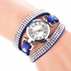 aa7e961e9a071 Rhinestones Multilayered Leather Bracelet Wristwatches. BijouxMontre LivraisonStrassFemmeHorlogeRegarder ...