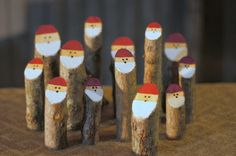 Hand Painted Log Santas - Rustic Christmas Décor. This Adorable Set is Made with Fresh Hardwood Branches.  Choose your quantity from the drop down