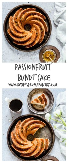 Passionfruit Bundt cake recipe with passionfruit syrup. A simple but tasty cake. Recipes From A Pantry Homemade Cake Recipes, Best Cake Recipes, Baking Recipes, Syrup Recipes, Sweet Recipes, Favorite Recipes, Passion Fruit Cake, Passion Fruit Syrup, Cupcakes